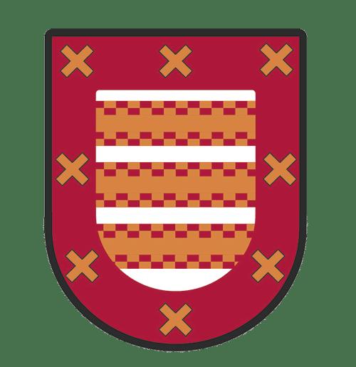 Logo de Gengropa. Escudo rojo con cruces en todo el contorno